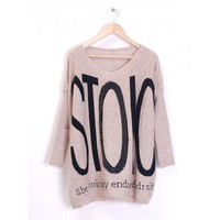 Beige Knitting Women Loose Letter Print Round Neck Free Size Sweater @H2719b