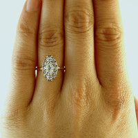 Bella Lacy Diamond Engagement Ring, Art Deco 1920's in 10k White and Yellow Gold