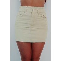 Chill Of The Night Skirt: Beige