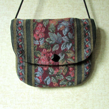 Tapestry Crossbody Boho Bag long strap purse wallet passport mini bag burgundy green blue floral tapestry fabric purse vintage 70s 80s