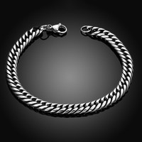 2017 men's bracelets & Bangles 3*7mm 316L Stainless Steel Wrist Band Hand Chain Jewelry Gift pulseira masculinas