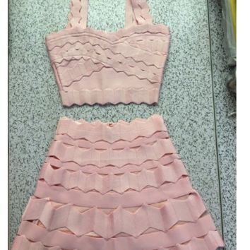 2 piece bodycon bandage skirt crop top party dress tg