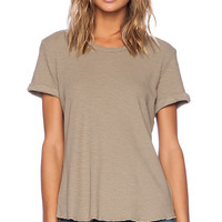 James Perse Rolled Sleeve Thermal Tee in Taupe