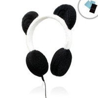 PANDAmonium Crocheted Panda Ear Stereo Headphones for Apple iPhone 5 , iPad Mini , iPod Touch and Many More Apple Products! ** Includes Accessory Bag and Microfiber Cloth! **: Electronics