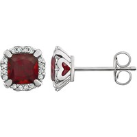 14kt White Gold Cushion Mozambique Garnet & 1/10 CTW Diamond Halo Earrings