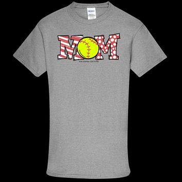 Southern Couture Soft Collection Softball Mom front print T-Shirt