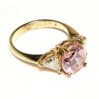 Vintage Pink Cubic Zirconia and Trillion Three Stone Engagement Style Ring 18kt gold over sterling Faux Pink Diamond Solitaire