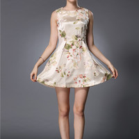 Floral Sleeveless A-Line Mini Skater Dress