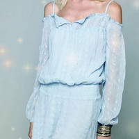 Light Blue Off-Shoulder Long Sleeve with Embroidery Mini Dress