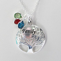 Tree Of Life Necklace, Family Jewelry, Birthstone Pendant, Birthday Necklace, Charm Family Tree, Gift For Mom, New Mom Necklace, Silver Tone
