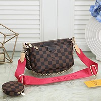 LV Louis Vuitton Hot Sale Classic Ladies Three-piece Mahjong Bag Shoulder Bag Shopping Bag Round Small Wallet
