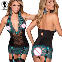 lingerie hot green+black bow lace perspective babydoll sexy chemise deep-V backless package hip sexy underwear