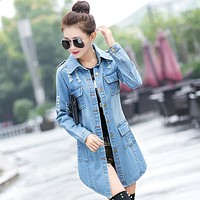 Fashion women's long trench coat with holes and lapels cowboy overcoat