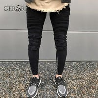 Gersri Skinny Blue Jeans Men Vintage Denim Pencil Pants High Quality Casual Stretch Trousers Sexy Hole Ripped Male Zipper Jeans