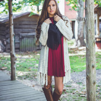 Turtle Neck Shift Dress in Wine