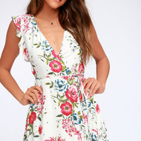Radiating Beauty White Floral Print Wrap Dress