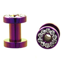 Pair of Purple Titanium Plated Clear CZ Gems Rim Ear Plug Tunnels Screw Gauges - 8G 3MM