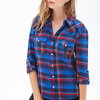 FOREVER 21 Plaid Flannel Western Shirt Blue/Red