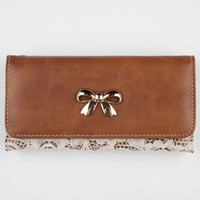 Bow Lace Overlay Wallet Cognac One Size For Women 21203340901