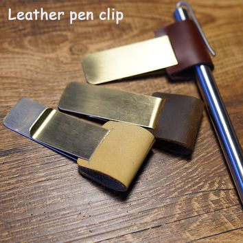 New Handmade Metal brass leather pen clip holder for Vintage genuine leather for traveler notebook diary spiral school supplies