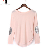 Long Sleeve Sequined Elbow T-shirt Top Drop Shoulder 4 Colors Fall Loose Casual Patching Tee 2016 Spring Women Clothing Black
