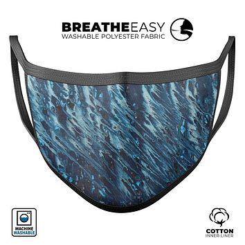 Abstract Wet Paint Blues v972 - Made in USA Mouth Cover Unisex Anti-Dust Cotton Blend Reusable & Washable Face Mask with Adjustable Sizing for Adult or Child