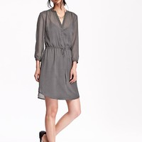Old Navy Womens Patterned Crinkle Chiffon Shirt Dresses