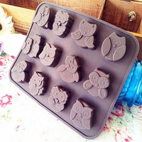 Lovely Silicone Owl Cake Decorating Mould Candy Cookies Chocolate Soap Baking Mold Tool (Size: One Size) = 5658093889