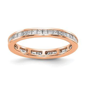1ct Channel Set Princess Cut Diamond Eternity Wedding Band Ring 14k Rose Gold