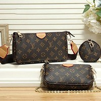 LV Louis Vuitton Popular Women Leather Handbag Tote Shoulder Bag Satchel Wallet Three-Piece