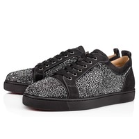 Sale Christian Louboutin Cl Louis Junior Strass Men's Flat Charbon Strass Shoes 3170175i132