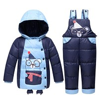 Boys Girls Down Jackets Kids Snowsuit Children Clothes Warm boy down Jacket Outerwear Coat+Pant Clothing Sets