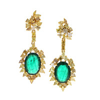 Emerald And Fancy 9.23 ct Diamond Gold Earring