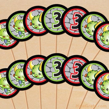 Dragon Party Printable Cupcake Toppers