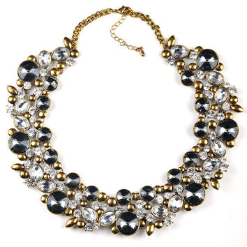 Gem Filled Choker Statement Necklace   Two Colors