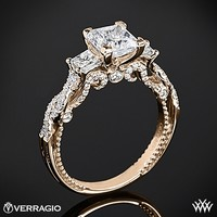 20k Rose Gold Verragio Beaded Braid Princess 3 Stone Engagement Ring