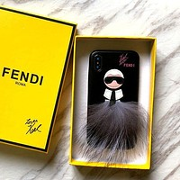 Fendi Tide brand Galeries Lafayette iPhoneXs Max plush half pack mobile phone case cover Black
