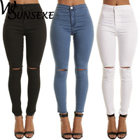 Summer Style White Hole Skinny Ripped Jeans Women Jeggings Cool Denim High Waist Pants Capris Female Skinny Black Casual Jeans
