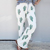 Women Cactus Drawstring Wide Leg Pants Leggings