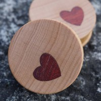 Sweet plugs from Omerica Organic with red heart inlays. 38mm, ...