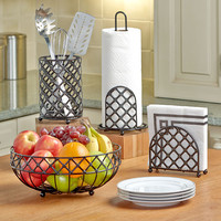 Lattice Kitchen Counter-top Storage Collection Set Metal