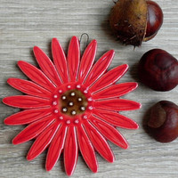 Ceramic Daisy Wall Decoration Red Flower Pottery Ornament Brown Dots