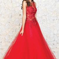 Madison James 15-131 Red Lace Tulle Prom Ball Gown