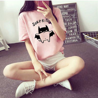 Harajuku Tee Summer Women Lovely Bat Printed Kawaii Top T-shirt