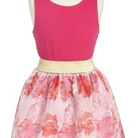 Girl's Sweet Heart Rose Sleeveless Knit to Woven Floral Dress