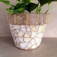 Mosaic tile flower pot, indoor planter, outdoor planter, rustic herb pots, kitchen plant pot, handmade garden art, patio container