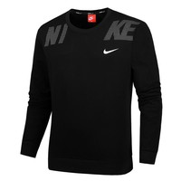 NIKE autumn and winter new men's sports and leisure plus velvet round neck sweater Black