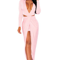 s Red Dress For Slimming Long Sleeve Maxi Dress Sexy Hollow Out Long Bandage Dress Club Wear SM6