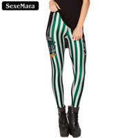 SexeMara 2016 Slytherin Harry Potter Magic Printed Leggings Fitness Women Fashion Slim Shiny Gothic Creative Sexy Pants BL-073