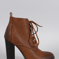 Qupid Round Toe Lace Up Heeled Combat Ankle Boots